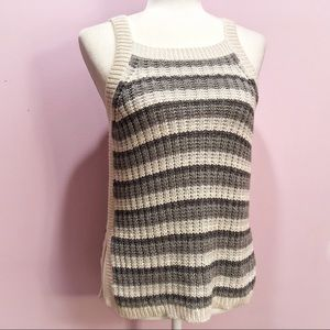 American Eagle Outfitters Gray Stripe Sweater Tank